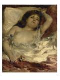 Femme demie-nue  couchée : la rose