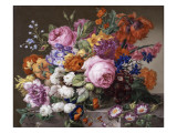 Corbeille de fleurs peintes au naturel
