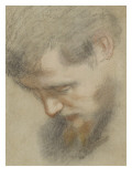 Head of a Bearded Man in Profile  Bent  Looking Down