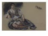 """Femme arabe assise à terre et études de boutons;Etude pour"""" Les Femmes d'Alger""""; vers 1833-1834"""