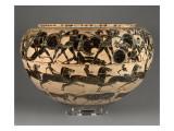 Dinos à figures noires : Héraclès et les Amazones  course de chevaux et frise d'animaux