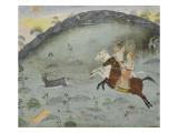 Scène de chasse: le sultan Amar Singh et un prince poursuivant deux gazelles