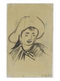 Tête de jeune homme coiffé d'un grand chapeau