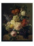 Corbeille de fleurs et grappe de raisin; dit aussi Fleurs et fruits