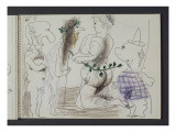 "Carnet 58  folio 21 recto; ""Caricatures: femme nue et satyres"""