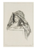 Buste de femme encapuchonnée dans une mante