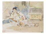 """Femme arabe assise sur des coussins ; Etude pour les """"Femmes d'Alger"""""""