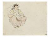 Femme arabe assise de 3/4 droite; étude pour les Femmes d'Alger; 1832