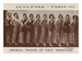 Imperial troupe of lady wrestlers (lutteuses) Luna Park Paris (1933)