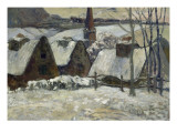 Village breton sous la neige