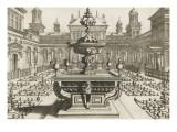 Perspective d'architecture avec parterres et fontaine