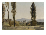 A la villa Farnèse : les trois peupliers et le Mont Latium