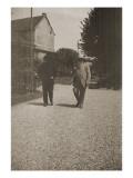 Claude Monet et un autre personnage marchant dans une allée de Giverny