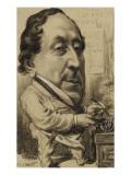 Portrait-charge de Gioachino-Antonio Rossini (1792-1868)  compositeur  en cuisinier