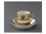 Chocolate Cup and Saucer Decorated with Arabesques