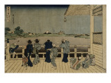Characters Contemplating the Mount Fuji of a Terrace