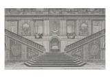 Vue intérieure du grand escalier de Versailles  opposé à l'entrée