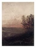 Paysage au soleil couchant  au premier plan  un berger et son troupeau