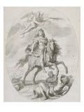 Louis XIV &#224; cheval  couronn&#233; par une victoire