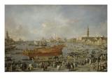 Départ du Bucentaure vers le Lido de Venise  le jour de l'Ascension