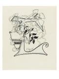 Lettre ornée  E   à décor d'amphore et de libellule