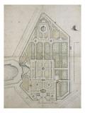 Plan du jardin du Grand Trianon  dessin de l'augmentation de Trianon et des rampes au bout du canal