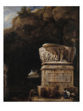 Paysage a grotte avec sarcophage antique (1717)