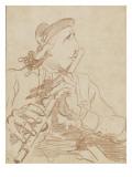 Portrait-charge de Lemonnier jouant de la flûte