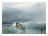 Marine  barque avec cinq marins sur une mer un peu agitée