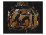 Panathenaic Amphora with Black Figures: Boxing Scene