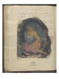 Album Noa Noa : Texte manuscrit et femme Polynésienne assise de trois-quart sur le sol : fin