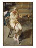 Femme nue se coiffant