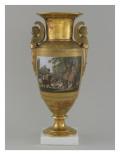 Vase en porcelaine de Paris avec scène de chasse
