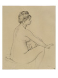 Femme nue assise  de profil à droite  s'essuyant le bras