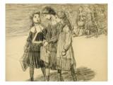 Sortie d'école : trois fillettes conversant  et au fond  autres fillettes