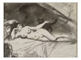 Femme nue  étendue sur un lit  la femme au chat