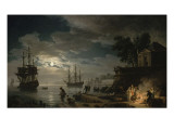 La Nuit : un port de mer au clair de lune