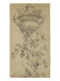 Dessin ornemental  une femme un genou à terre  tient un vase fermé et sculpté