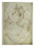 Neuf personnages ; un cavalier saute à cheval au-dessus d'un tombeau ouvert
