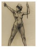 Etude de nu pour la République  vue de face  brandissant son épée