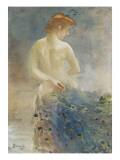 Femme nue  de dos  avec une queue de paon  la tête de profil à droite