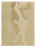 Femme nue  portant une veste brune