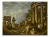 Ruines d'architecture avec l'Arc de Janus  le temple de Vesta  la statue équestre de Marc-Aurèle