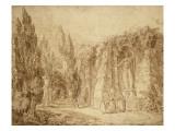 Ruines romaines dans un parc  fontaine ornée d'une statue colossale de Minerve