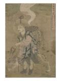 Moine pèlerin accompagné d'un tigre (Xuanzang)