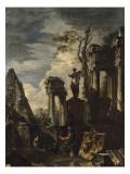 Ruines d'architecture antique avec la pyramide de Cestius et la statue de Flore