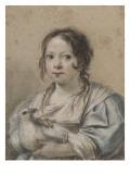 Portrait d'Angélique Vouet vers cinq ans tenant une colombe