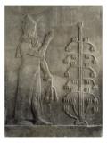 Relief du palais de Sargon II : génie portant un fleur de pavot