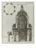 Planche 205 : Coupe sur  la largeur prise dans la croisée de l'église de la Sorbonne à Paris