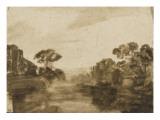 Cours d'eau aux rives boisées ou Impression de crépuscule
